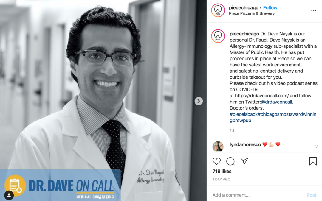 Dr. Dave On Call Featured on Piece Pizza Social Media